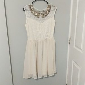 Pinky M cream dress with beaded collar